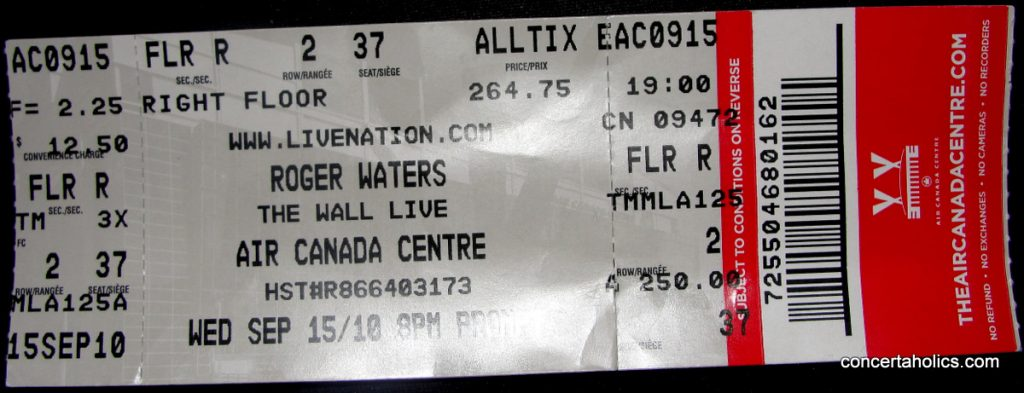 Pink Floyd The Wall ticket 2010