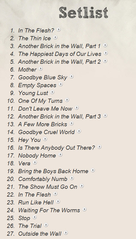 Roger Waters |Set List for THE WALL in Toronto | ACC